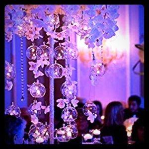 Set of 3 hanging tea light glass globe terrarium